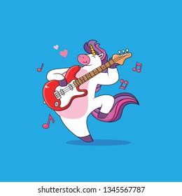 Cartoon Unicorns are playing guitar