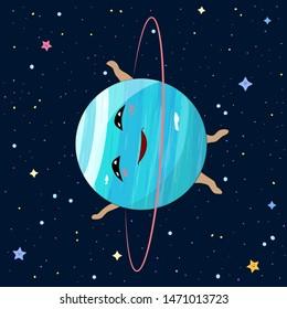 Cartoon Uranus planet on space background, vector illustration