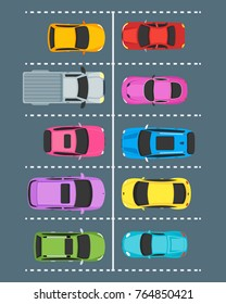 Cartoon Urban Parking Zones with Color Cars Top View Design on a Gray Background. Vector illustration