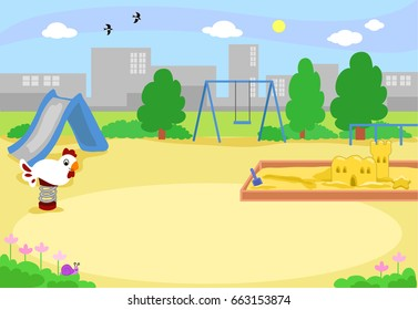Cartoon urban playground vector background illustration.