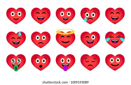 Cartoon Valentine's Day Heart Emoticons Set. Happy and sad characters icons. Funny romantic emotional symbols. Vector illustration.