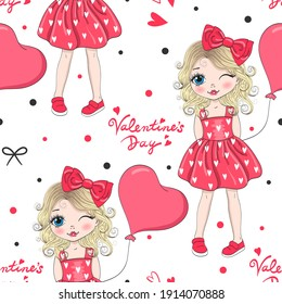 Cartoon valentines girl seamless pattern with cute girl, pink heart and bows. Vector illustration.