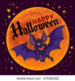 Cartoon vampire bat on full Moon background. Happy Halloween text. Halloween poster, flyer or invitation design template. Hand drown vector illustration.