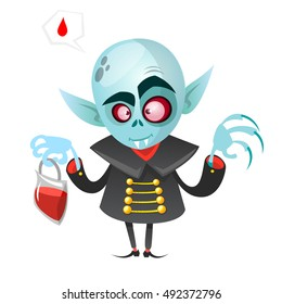 Cartoon vampire. Halloween vector illustration vampire holding pack of blood isolated on white background