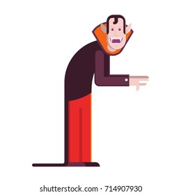 Cartoon vampire man character isolated on white background. Count Dracula in red cloak vector illustration in flat design.