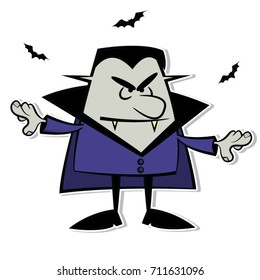 Cartoon vampire in purple. Vector illustration with solid colors and accompanied by a group of black bats.