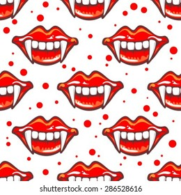 Cartoon vampire smile with fangs. Seamless pattern.