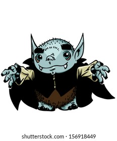 Cartoon vampire - Vector clip art illustration on white background