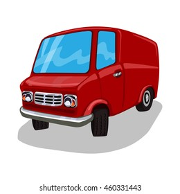 Cartoon Van. Delivery Truck. Red travel bus. Commercial transportation. Fun design. Vector illustration isolated on white background