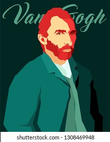 Cartoon Van Gogh. Vector illustration. Editorial use only. February 09, 2019