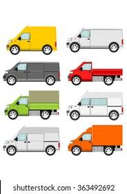 Cartoon van truck set on a white background. Vector