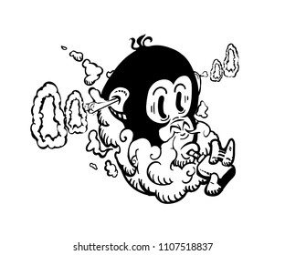 Cartoon vape label Isolated. E-cigarette,monkey smokes and launches rings of steam from the ears emblem, labels, badges, logos. Isolated on white. Poster on the wall for vape bar. image for printing.