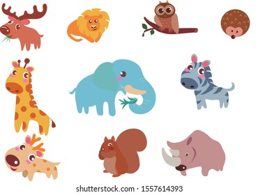 Cartoon various animal design elements