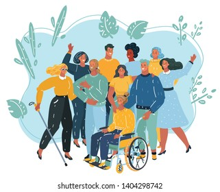Cartoon vecor illustration of disabled people care. Woman in a wheelchair and blind person with his friends get together.