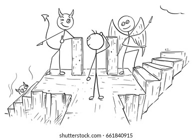 Cartoon vector of angel and devil standing on crossroad showing a man two ways to decide between hell and heaven