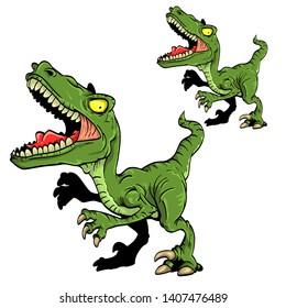 cartoon vector angry raptor. Dinosaur character