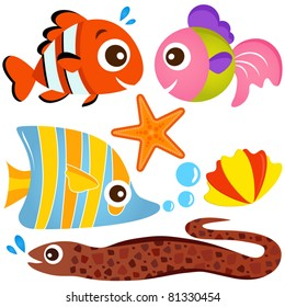 Cartoon Vector of Aquatic animal - Fish and Sea life, clown fish, eel, starfish and seashell. A set of cute and colorful icon collection isolated on white background