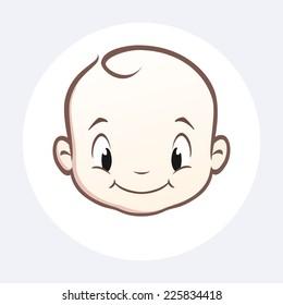Cartoon vector baby face for design element