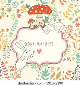 Cartoon vector background. Cute wallpaper with funny white rabbits, mushrooms and flowers. Romantic colorful card