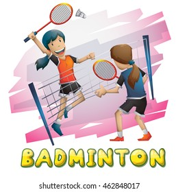 Cartoon vector badminton sport with separated layers for game and animation, game design asset