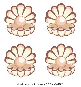 Cartoon vector beautiful opened shell with a pearl seamless pattern