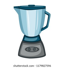 Cartoon Vector Blue Blender Isolated on White Background. Electric Stationary. Kitchen Devices