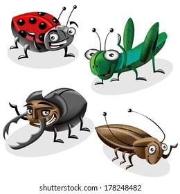 Cartoon vector bugs set.