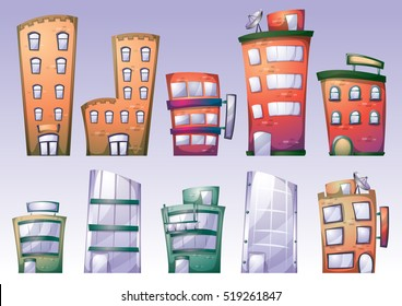 cartoon vector building objects with separated layers for game art and animation game design asset in 2d graphic