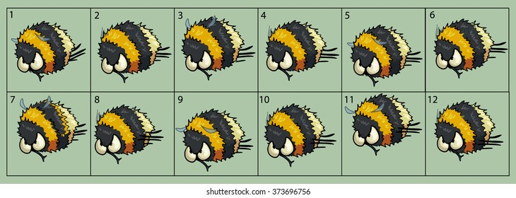 cartoon vector bumblebee animation fly. Game icon funny flying insect. Vector design for app user interface.