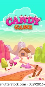 Cartoon vector candy world illustration with title inscription, vertical format for mobile phone screen
