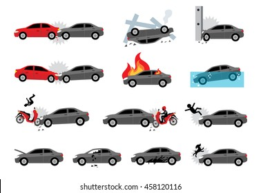 cartoon vector car accident icon set