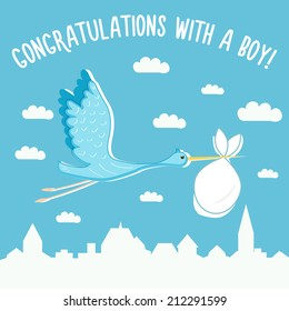 Cartoon vector card for new baby boy with stork