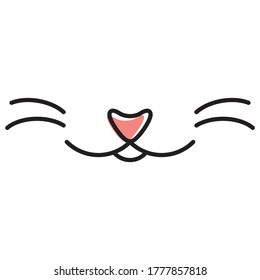 Cartoon vector cat's nose and mouth at baby illustration style