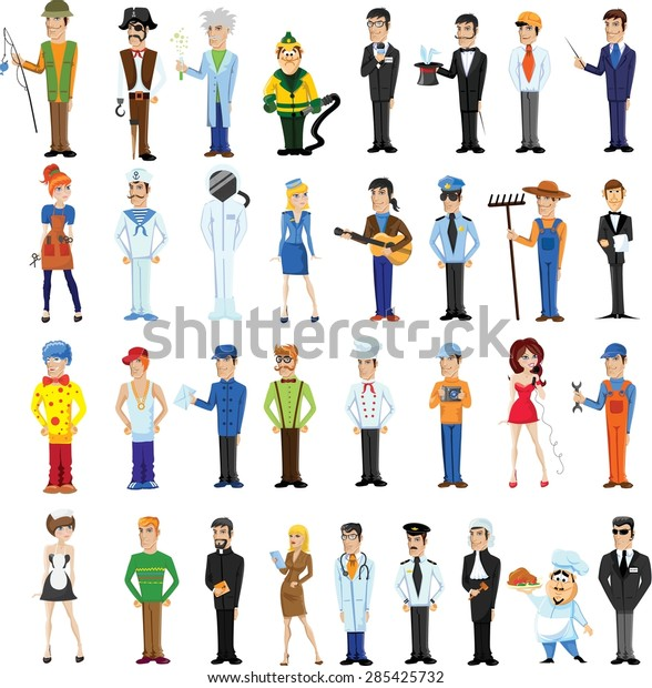 Cartoon Vector Characters Different Professions Stock Vector