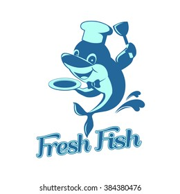 Cartoon Vector chef dolphin cooking, fish logo design