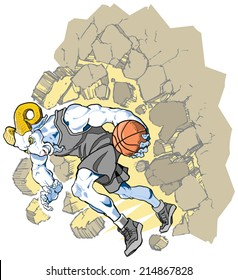 Cartoon Vector clip art illustration of a charging bighorn sheep or ram basketball player mascot crashing through a wall. Character art on separate layer. Uniform color can be changed if desired.