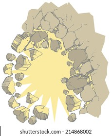 Cartoon vector clip art of a wall exploding into rubble or debris. For use as a customizable graphic element showing something breaking through a wall or background. File is layered for customization.