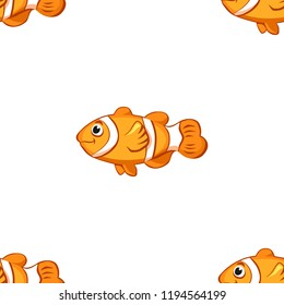Cartoon vector clown fish seamless pattern