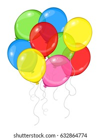Cartoon vector colorful group of balloons isolated on white background