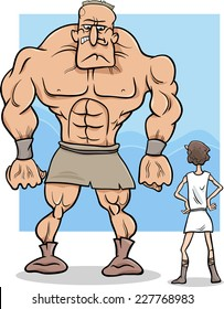 Cartoon Vector Concept Illustration of David and Goliath Myth or Saying