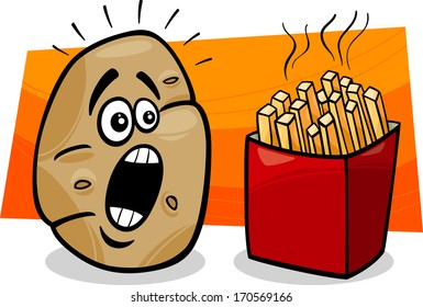 Cartoon Vector Concept Illustration of Terrified Potato and French Fries