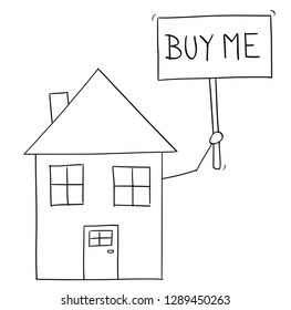 Cartoon vector conceptual drawing of family house holding buy me sign .