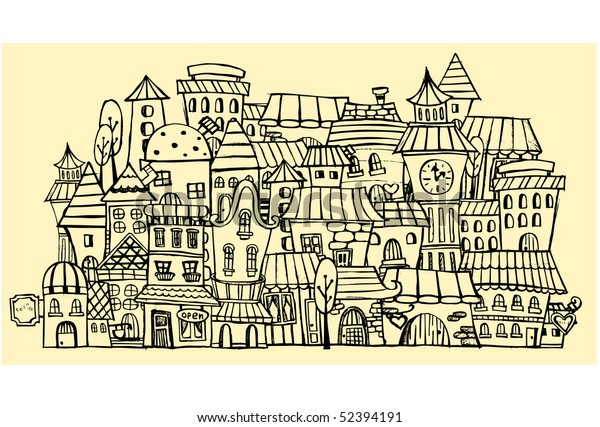 cartoon vector contour town