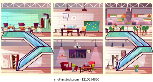 Cartoon vector coworking business center cross section loft interiors with various rooms on floors and escalators. Empty co-working office with lounge, meeting room, workplaces and cafe illustration