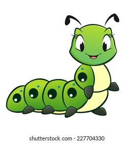 Cartoon vector cute caterpillar for design element