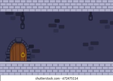 Cartoon vector dark castle background with door, hanging chains and brick walls