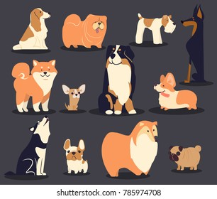 cartoon vector dogs, different type of dogs, cute pet characters, breeds.
