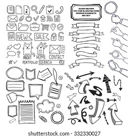Cartoon vector doodle design elements set. Web icons, ribbons, stickers, balloons for text, arrows, hands with gadgets. Hand drawn black and white sketch illustrations.
