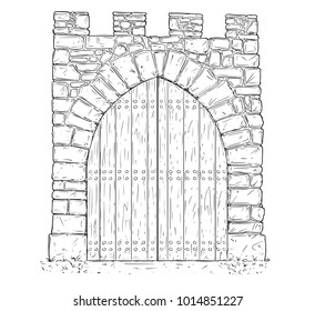 Cartoon vector doodle drawing illustration of medieval stone decision gate closed by wooden door .