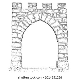 Cartoon vector doodle drawing illustration of open medieval stone decision gate.